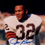 Jim Brown Autographed Cleveland Browns (White Jersey) 8×10 Photo – JSA