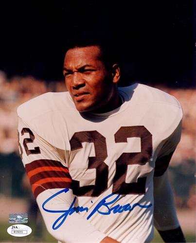 Jim Brown Autographed Cleveland Browns White Jersey 8x10 Photo Jsa