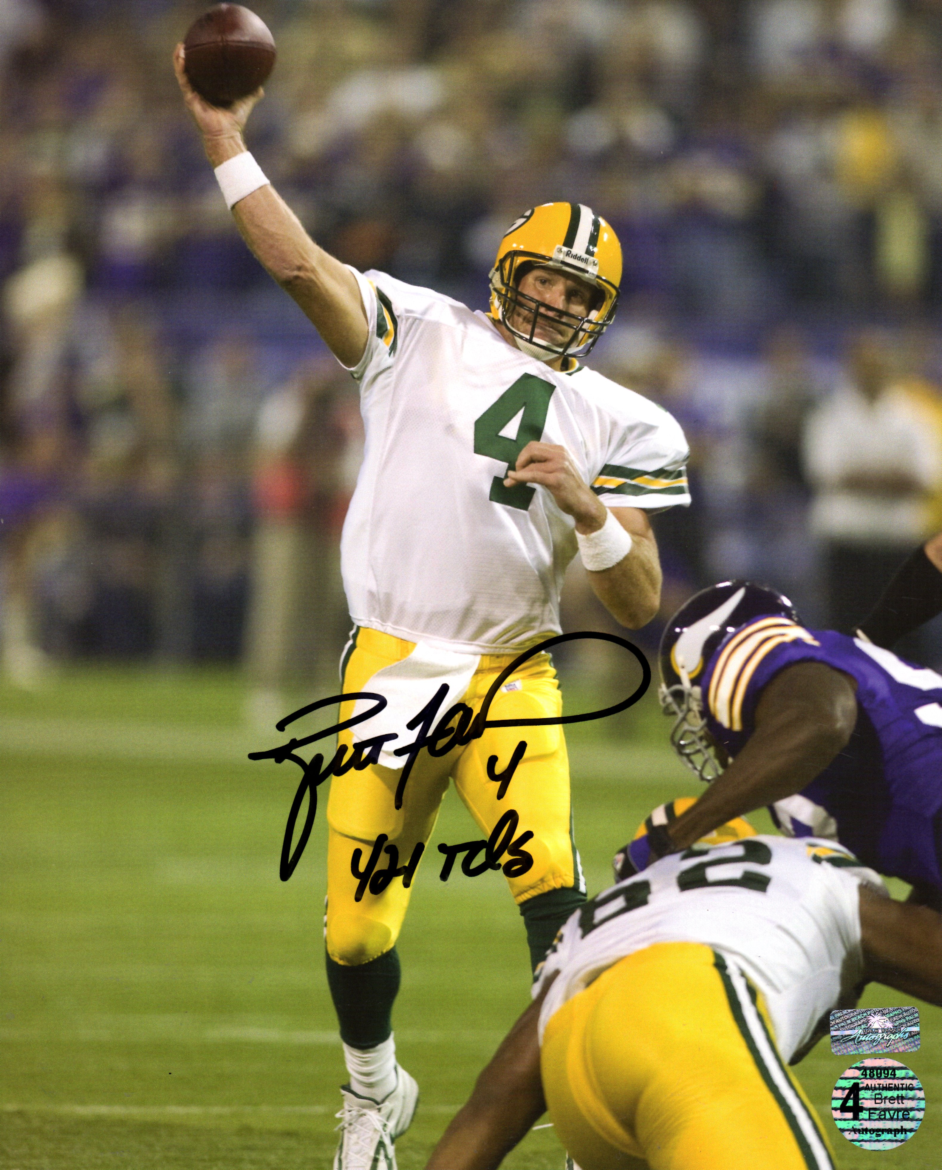 timeless design 38b09 ad1f5 Brett Favre Autographed Green Bay Packers (421 TD Pass) 8x10 Photo with