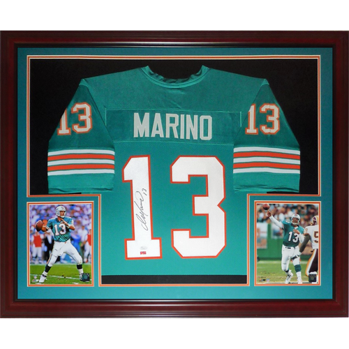 super popular c4664 c639d Dan Marino Autographed Miami Dolphins (Teal #13) Deluxe Framed Jersey -  Marino Holo