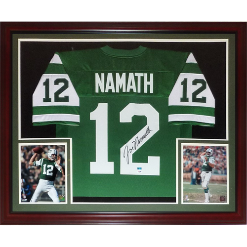 outlet store 8481c 22019 Joe Namath Autographed New York Jets (Green #12) Deluxe Framed Jersey