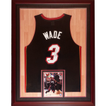 Dwyane Wade Autographed Miami Heat (Black #3) Deluxe Framed Jersey with court background – DWADE Holo