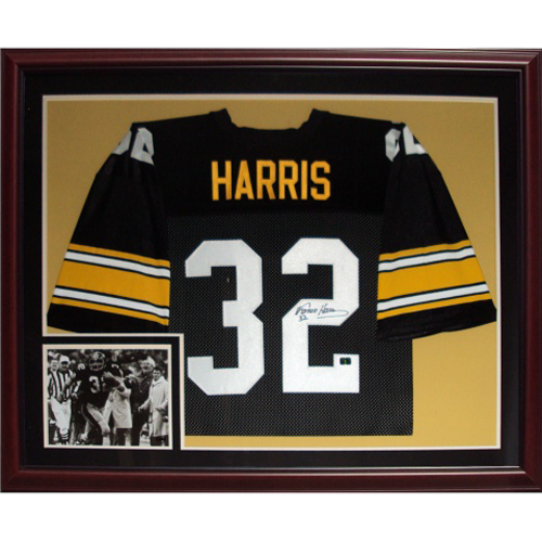 finest selection b1ae5 efcf6 Franco Harris Autographed Pittsburgh Steelers (Black #32) Deluxe Framed  Jersey