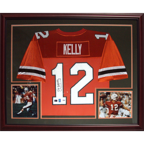 brand new 8b572 bd472 Jim Kelly Autographed Miami Hurricanes (Orange #12) Deluxe Framed Jersey -  Kelly Holo