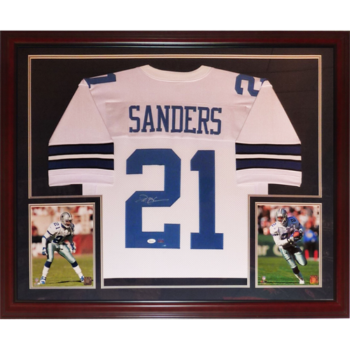uk availability 3e74e b1a6e Deion Sanders Autographed Dallas Cowboys (White #21) Deluxe Framed Jersey -  Sanders Holo
