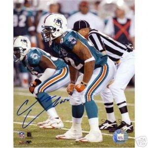 Channing Crowder Autographed Miami Dolphins 8x10 Photo