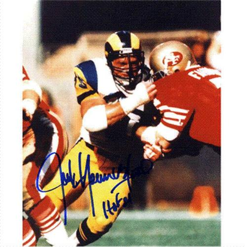 "Jack Youngblood Autographed St. Louis Rams (vs 49ers) 8x10 Photo w/ ""HOF 01"""
