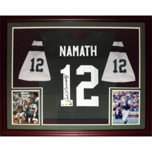 Joe Namath Autographed New York Jets (Green #12) Deluxe Framed Jersey