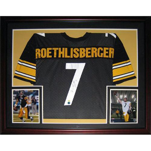 new arrival 3fce7 6ef04 Ben Roethlisberger Autographed Pittsburgh Steelers (Black #7) Deluxe Framed  Jersey