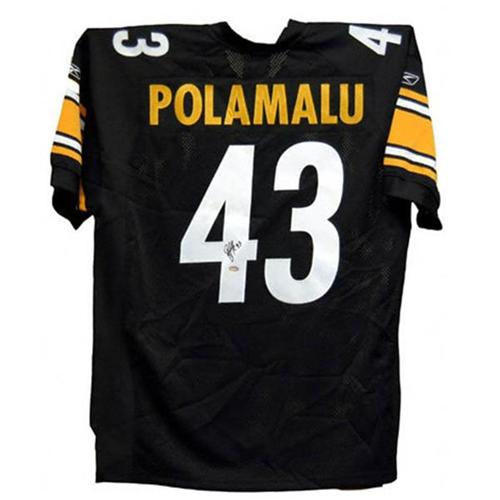 the latest f2b8c ce198 Troy Polamalu Autographed Pittsburgh Steelers (Black #43) Jersey - Polamalu  Holo