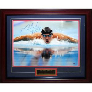 Michael Phelps Autographed Olympic Swimming Deluxe Framed 16x20 Photo w/ Nameplate