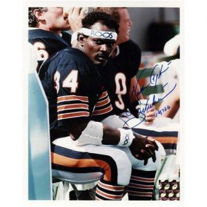 """Walter Payton Autographed Chicago Bears """"Bench Shot"""" 8x10 Photo w/ """"Sweetness"""" , """"16,726"""""""
