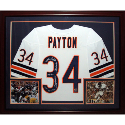 buy online 061d3 0cd66 Walter Payton Autographed Chicago Bears (White #34) Deluxe Framed Jersey  with 5 Inscriptions