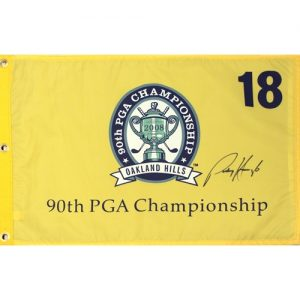 Padraig Harrington Autographed 2008 PGA Championship (Oakland Hills Yellow) Golf Pin Flag - Tournament Champion