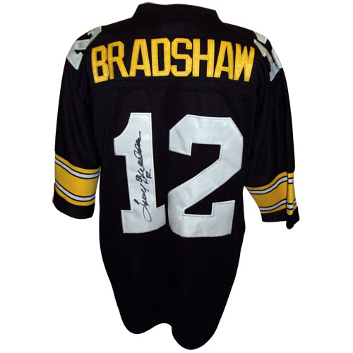 25249dc68 Terry Bradshaw Autographed Pittsburgh Steelers (Black  12) Custom Jersey
