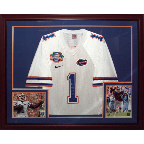 Percy Harvin Autographed Florida Gators (White #1 Nike BCS Patch) Deluxe Framed Jersey