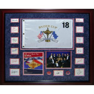 Ryder Cup 2008 USA Team Signed Deluxe Framed Piece with Flag, Program, Photo - Azinger and 12 Team Member Signatures
