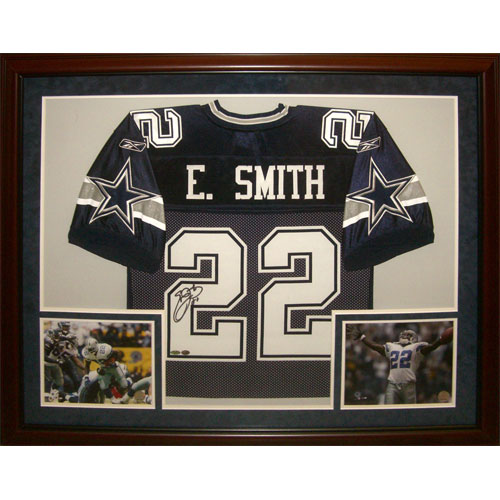 pretty nice 5550e 9e789 Emmitt Smith Autographed Dallas Cowboys (Blue #22) Deluxe Framed Jersey