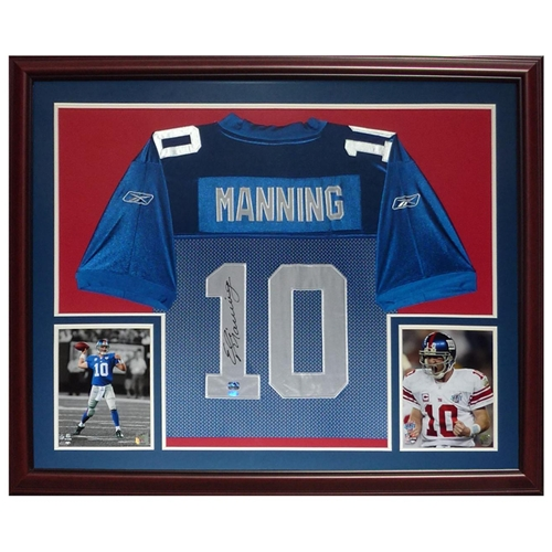 brand new 05e2e ff633 Eli Manning Autographed New York Giants (Blue #10) Deluxe Framed Jersey -  Steiner