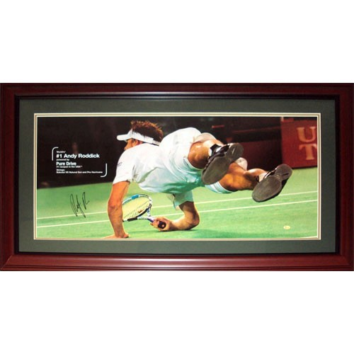 Andy Roddick Autographed (Dive) Deluxe Framed Poster