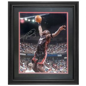 Dwyane Wade Autographed Miami Heat (Black Jersey) Deluxe Framed 16x20 Photo - D Wade Holo