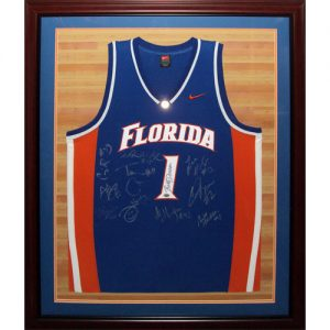 2006-07 Florida Gators Team Autographed (with Billy Donovan) Florida Gators (Blue #1) Deluxe Framed Jersey