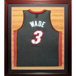 Dwyane Wade Autographed Miami Heat (Black #3) Deluxe Framed Jersey with court background
