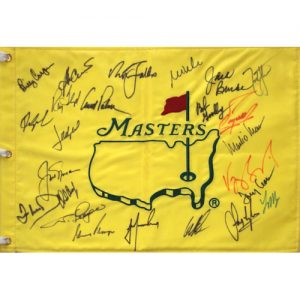 Masters Golf Pin Flag Autographed by 24 Former Champions #7