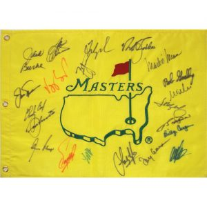 Masters Golf Pin Flag Autographed by 21 Former Champions #16