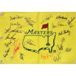Masters Golf Pin Flag Autographed by 23 Former Champions #17