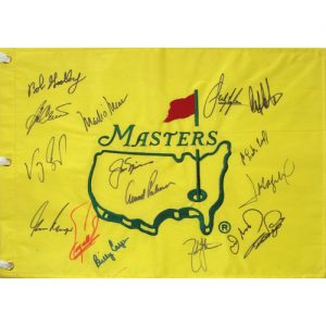 Masters Golf Pin Flag Autographed by 15 Former Champions #18
