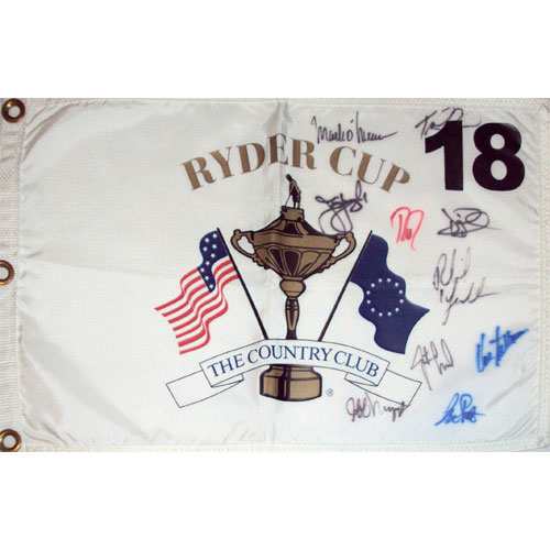 1999 Ryder Cup (Brookline) Golf Pin Flag Autographed by 10 Team USA Members #2
