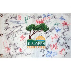 2008 US Open (Torrey Pines) Embroidered Golf Pin Flag Autographed by 54 Tournament Participants