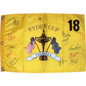 2008 Ryder Cup (Valhalla) Golf Pin Flag Autographed by 12 Team USA Members #1