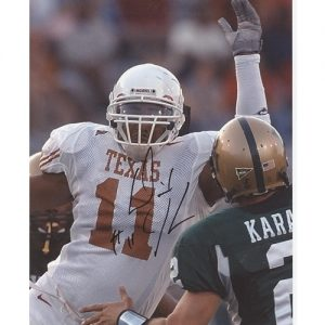 Derrick Johnson Autographed Texas Longhorns (White Jersey) 8x10 Photo