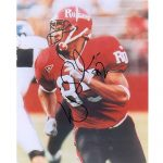 L.J. Smith Autographed Rutgers Scarlet Knights (Red Jersey) 8×10 Photo
