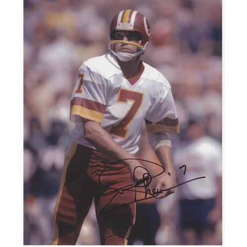 Joe Theismann Autographed Washington Redskins (White Jersey) 8x10 Photo