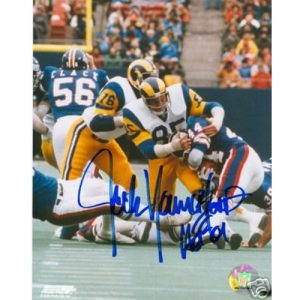 "Jack Youngblood Autographed St. Louis Rams (vs Giants) 8x10 Photo w/ ""HOF 01"""