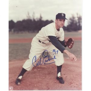 Carl Erskine Autographed Brooklyn Dodgers (Throwing) 8x10 Photo