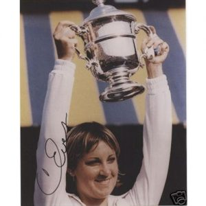 Chris Evert Autographed (US Open Trophy) 8x10 Photo