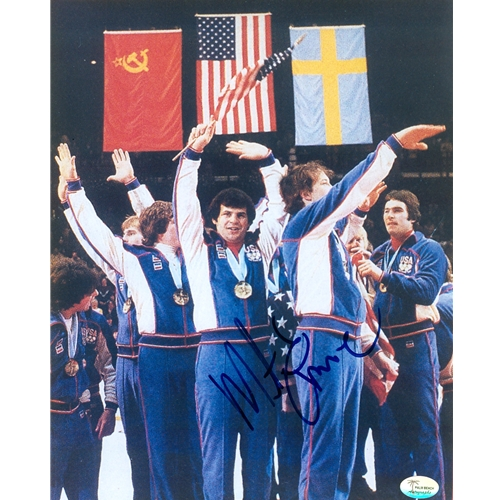 Mike Eruzione Autographed 1980 US Olympic Hockey (Celebration) 8x10 Photo