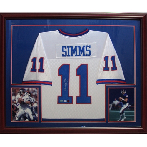 more photos 828ff f0c50 Phil Simms Autographed New York Giants (White #11) Deluxe Framed Jersey