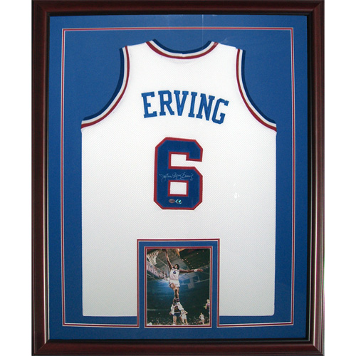 sports shoes 808ca 6d745 Julius Erving Autographed Philadelphia 76ers (White #6) Deluxe Framed  Jersey w/