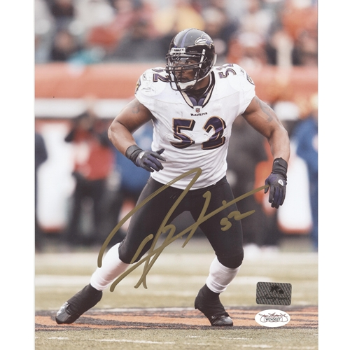 Ray Lewis Autographed Baltimore Ravens (White Jersey) 8x10 Photo