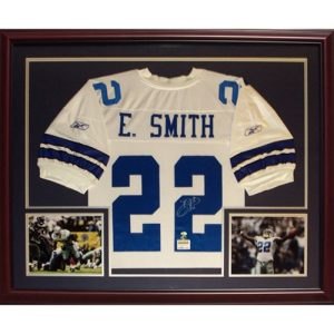 Emmitt Smith Autographed Dallas Cowboys (White #22) Deluxe Framed Jersey