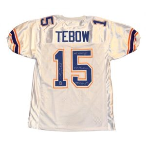 "Tim Tebow Autographed Florida Gators (White #15) Jersey w/ ""06 Champs"" , ""07 Heisman"" , ""08 Champs"" - Tebow Holo"