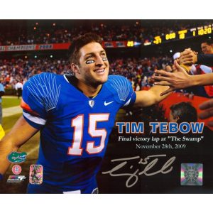 Tim Tebow Autographed Florida Gators (Final Victory Lap) 8x10 Photo - Tebow Holo