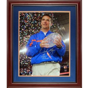 "Urban Meyer Autographed Florida Gators (2006 BCS Trophy) Deluxe Framed 16x20 Photo w/ ""06 Natl Champs"""