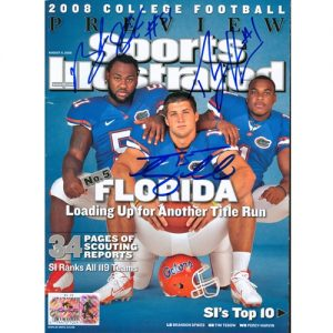 Tim Tebow, Percy Harvin and Brandon Spikes Autographed (8-11-08 NCAA Preview) Sports Illustrated