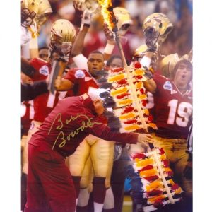 Bobby Bowden Autographed Florida State Seminoles (Throwing Spear) 8x10 Photo